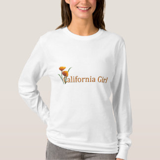 California Girl Poppies Ladies LS T T-Shirt