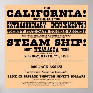 California Gold Rush Handbill Poster
