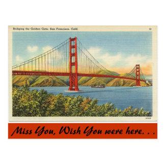 California, Golden Gate Bridge Postcard