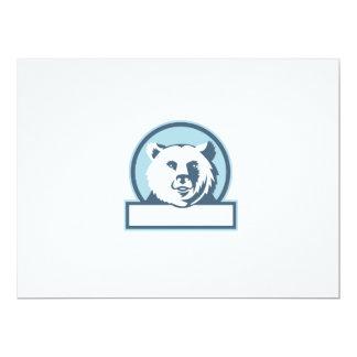 California Grizzly Bear Head Smiling Circle Retro 17 Cm X 22 Cm Invitation Card