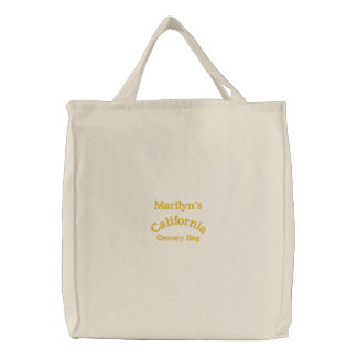 California, Grocery Bag, Embroidered Tote Bag