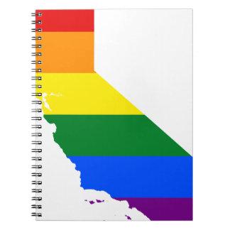 California LGBT Flag Map Notebook