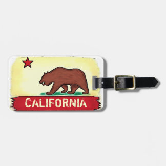 California local native artistic flag luggage tag