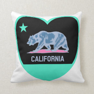 California Love - Colorful CA Flag in Heart Throw Pillow