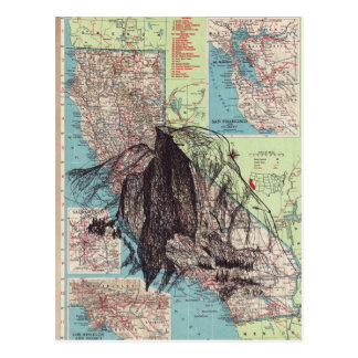 California Map Art Postcard