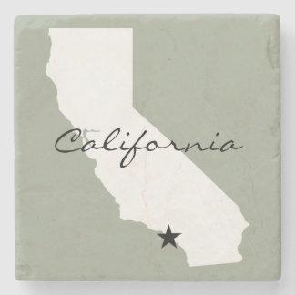 California Minimalist Map Silhouette Stone Coaster