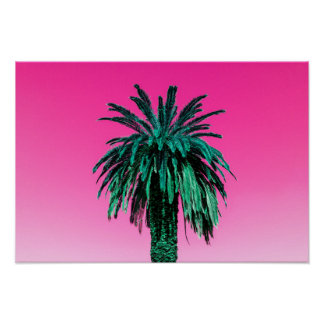 California Neon Palm Tree Poster