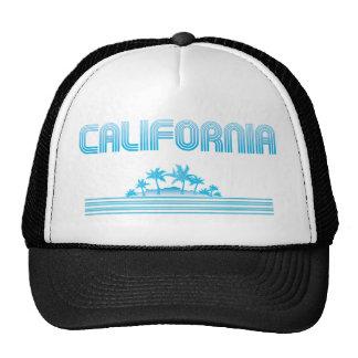 California Neon Palm Trees AQUA Cap