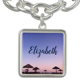 California palapa beach sunset photo custom name