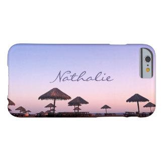 California palapa beach sunset photo custom name barely there iPhone 6 case
