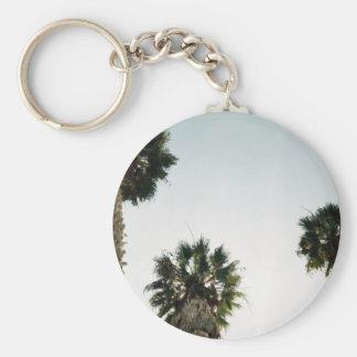 California Palm Trees Basic Round Button Key Ring