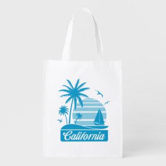 California Palm Trees & Sailboat Reusable Grocery Bag