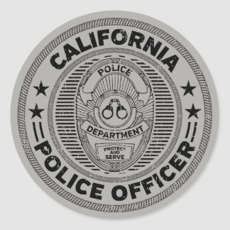 California Police Officer Classic Round Sticker