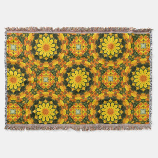 California Poppies 02.2, Flower-Mandala Throw Blanket