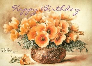 California Poppies Fine Art Birthday Card