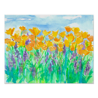 California Poppies Lupines Poster