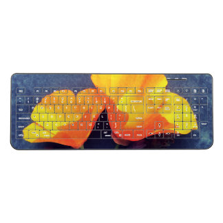 California poppies on blue background wireless keyboard