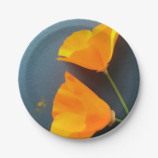 California poppies on blue paper plate