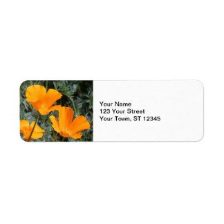 California Poppies Return Address Label