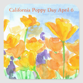 California Poppy Day Watercolor Flowers Square Sticker