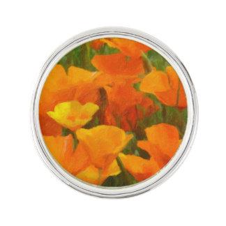 california poppy impasto lapel pin
