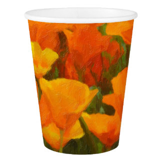 california poppy impasto paper cup
