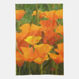 california poppy impasto tea towel