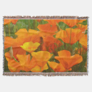 california poppy impasto throw blanket