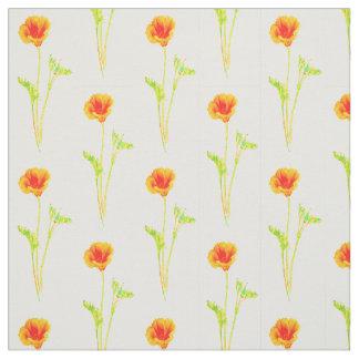 California Poppy Orange Flower Pattern Fabric