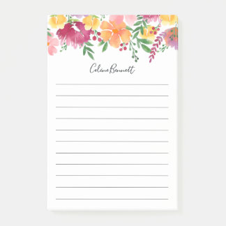 California Poppy Personalized Lined Post-it Notes