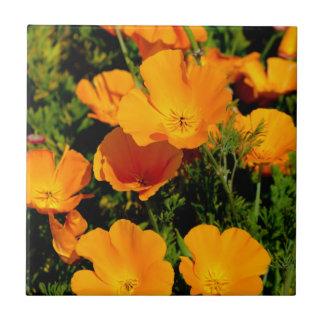 """""""California Poppy"""" Small Square Tile"""