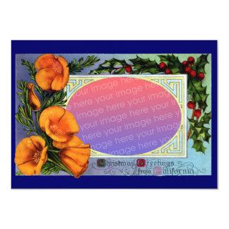 California Poppy Vintage Christmas Frame Sepia 11 Cm X 16 Cm Invitation Card