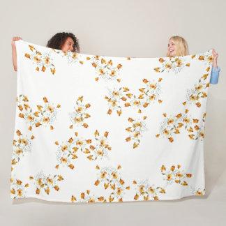 California Poppy Wildflower Flowers Fleece Blanket