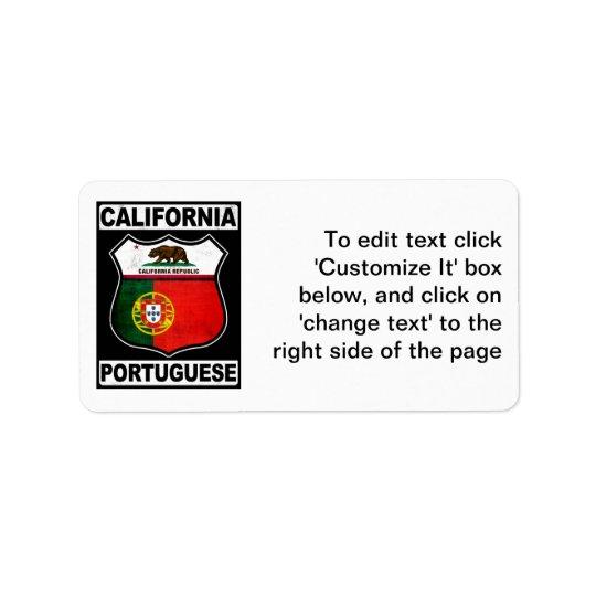 California Portuguese American Address Label