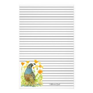California Quail State Bird Poppies Black Lined Stationery