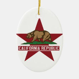 California Republic Bear Flag Star Ceramic Ornament