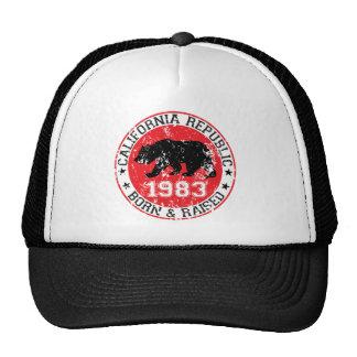 california republic born raised 1983 trucker hat