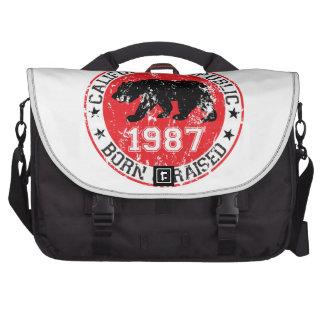 California Republic born raised 1987 Laptop Messenger Bag
