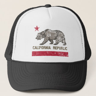 california republic distressed trucker hat