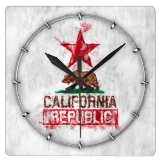 California Republic Flag Bear in Paint Style Decor Square Wall Clock