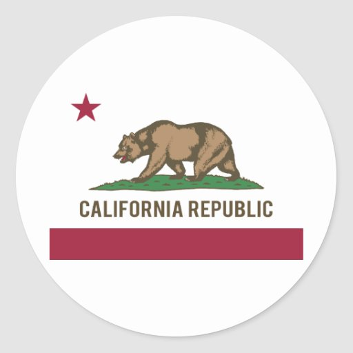 California Republic Flag - Colour Round Sticker