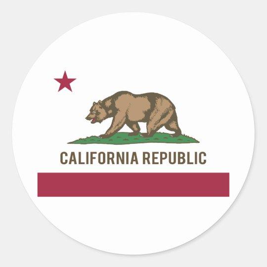 California Republic Flag - Colour Round Sticker