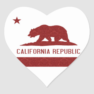 California Republic Flag Damask Pattern Heart Sticker