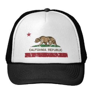 California Republic Flag Distressed Look Trucker Hats