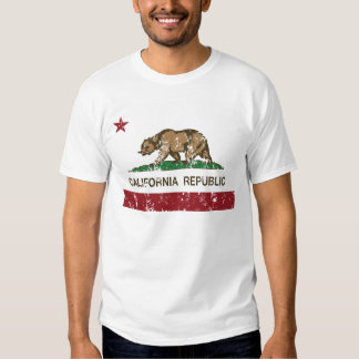California Republic Flag Distressed Look T Shirt