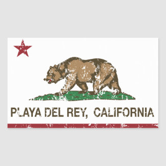 California Republic Flag Playa Del Rey Rectangular Sticker