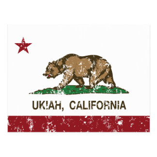 California Republic Flag Ukiah Postcard