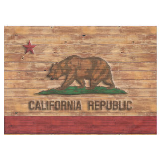 California Republic Flag Vintage Wood Design Tablecloth