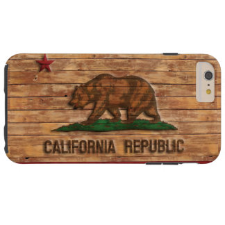 California Republic Flag Vintage Wood Design Tough iPhone 6 Plus Case