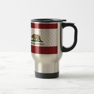 California Republic Flag White Diamondplate Travel Mug